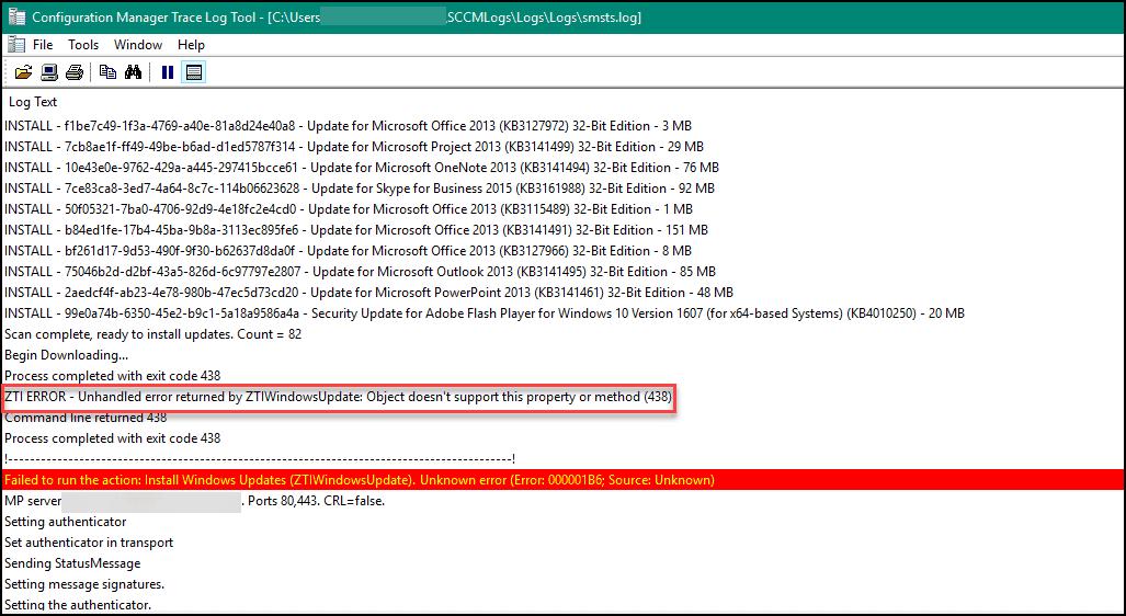 SCCM Task Sequence Failed with error code 0x000001B6