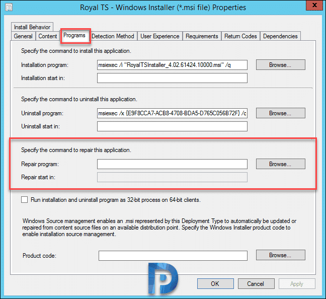 Specify Command to Repair Applications in SCCM