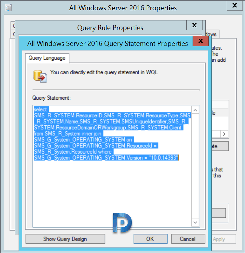 SCCM Device Collection Windows Server 2016 and Server 2019