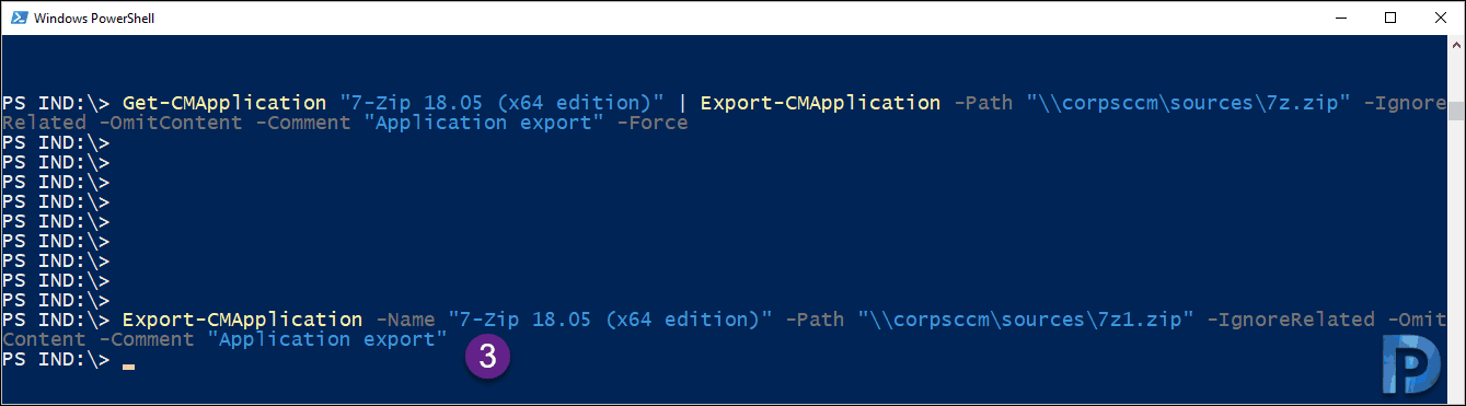 Export SCCM Application Using PowerShell