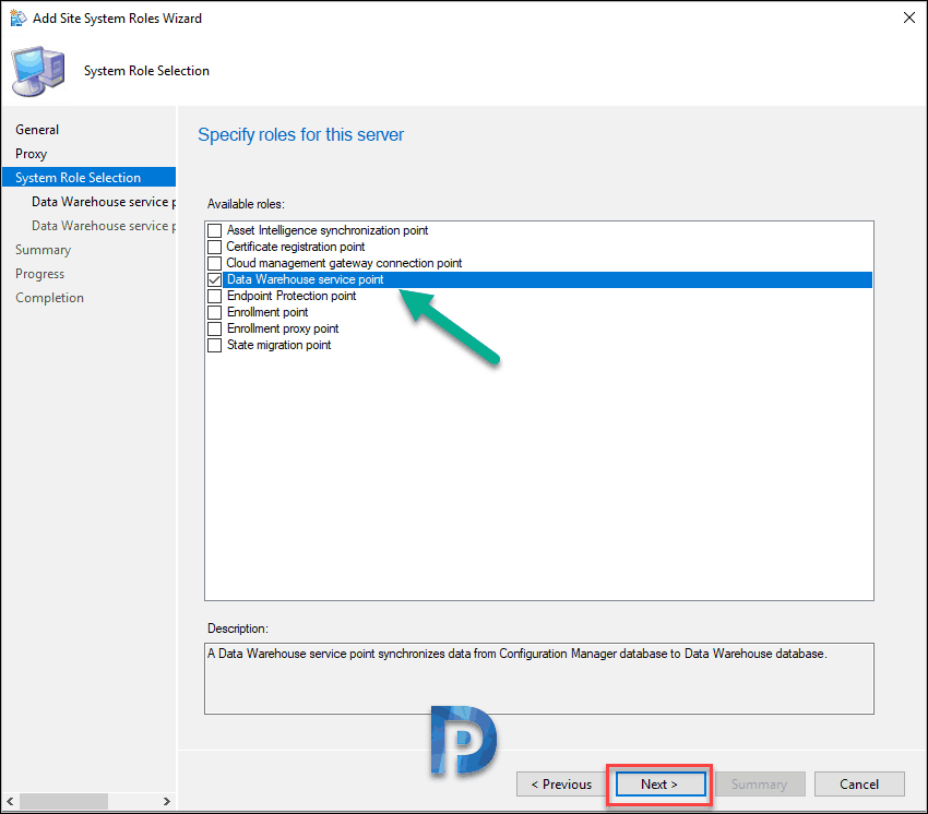 Install Data Warehouse Service Point in SCCM ConfigMgr