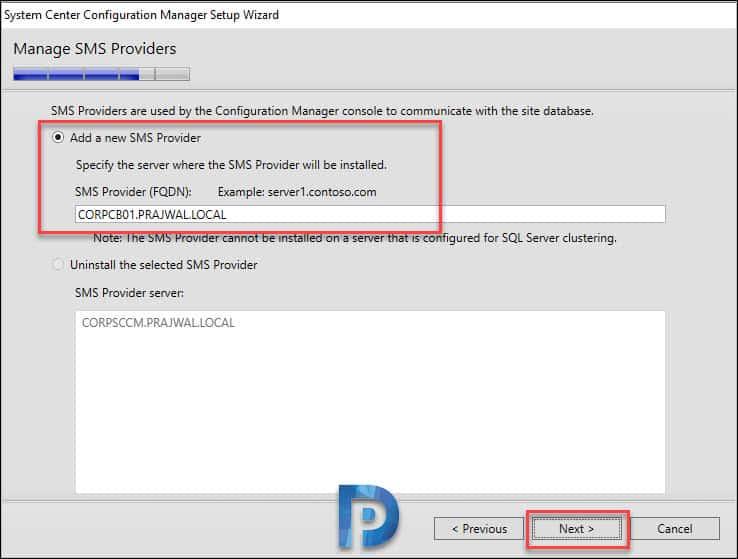 Specify SMS Provider FQDN