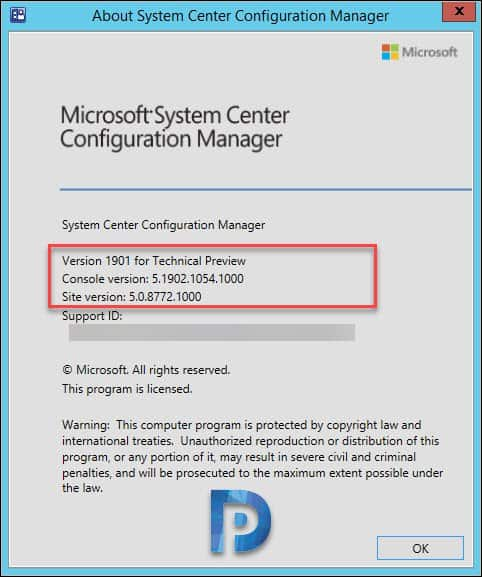 SCCM TP 1901 about configuration manager