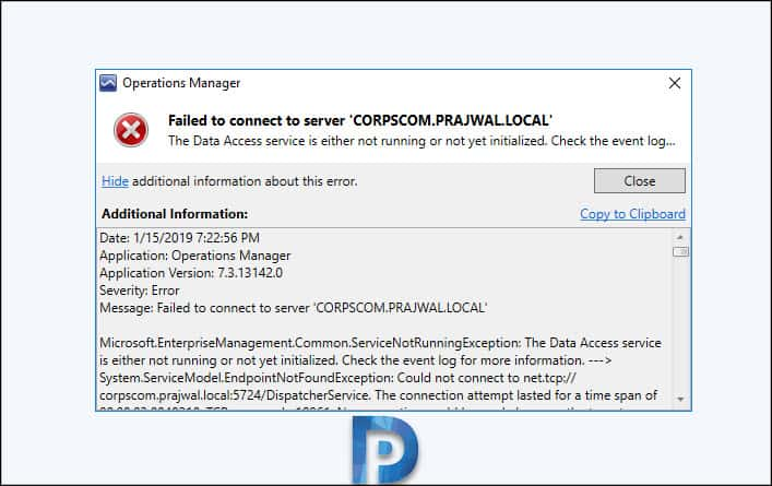 SCOM Data Access Service Not Running