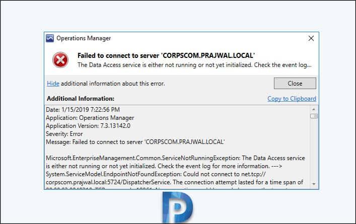 SCOM Data Access Service Not Running – Prajwal Desai
