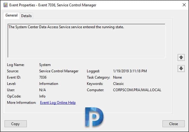 SCOM data access event viewer