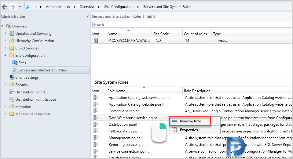 Uninstall SCCM Data Warehouse Service Point Role