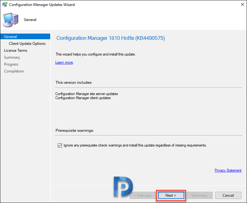 SCCM hotfix prerequisite check