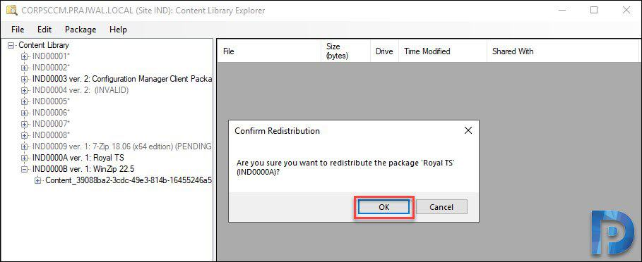 Redistribute SCCM Package