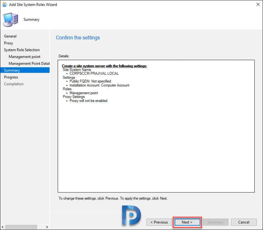 ConfigMgr management point install