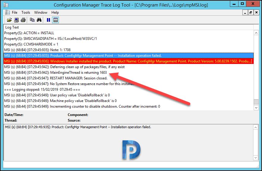 Easy Fix For SCCM Management Point Uninstall Error 1603 – Prajwal Desai