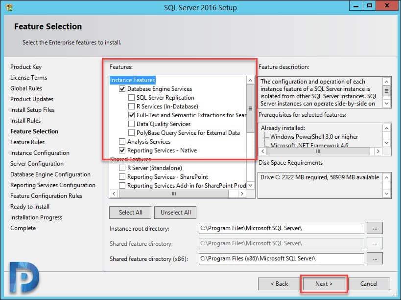 Install SQL Server for SCOM 1801