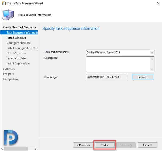 Create Windows Server 2019 Task Sequence