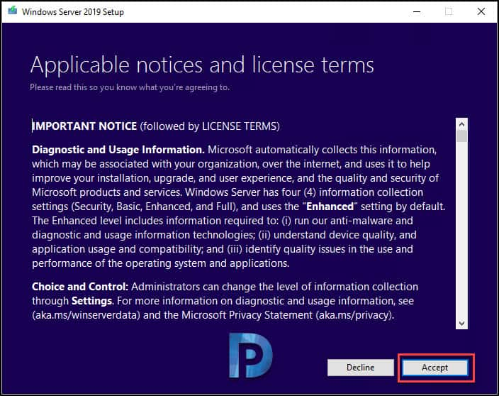 server 2019 license terms