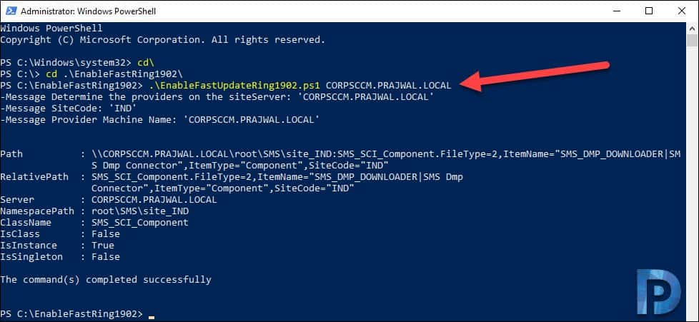 Configuration Manager fastring script