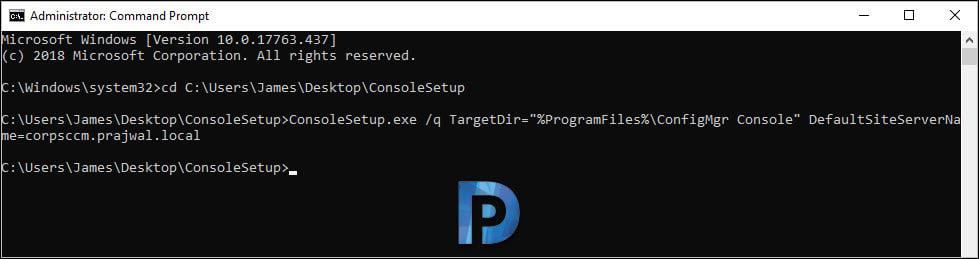 SCCM console command prompt