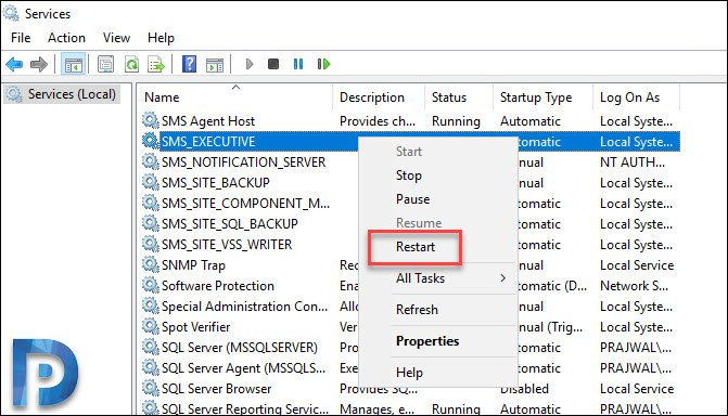 Restart SCCM SMS_EXECUTIVE Service