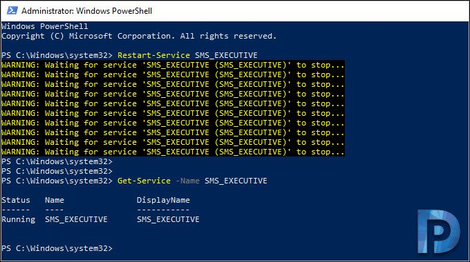 restart SCCM service using PowerShell