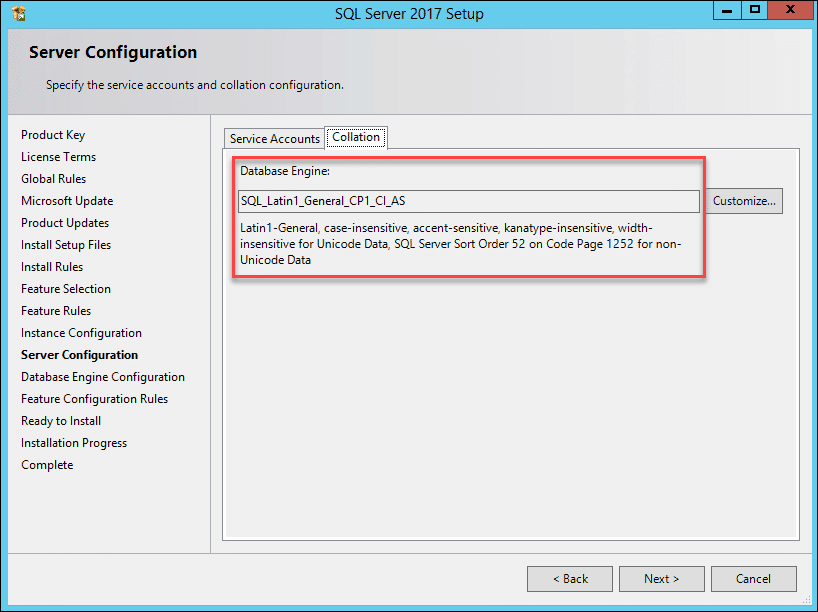 SQL Server database collation