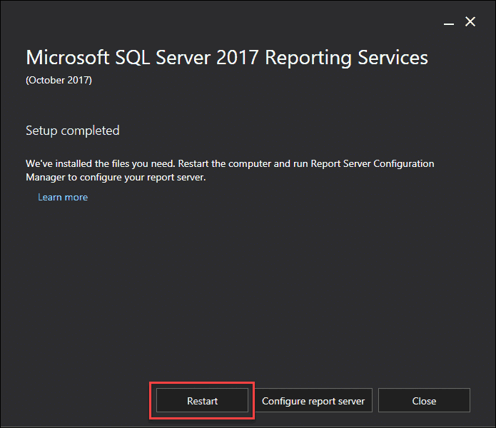Install SQL Server 2017 reporting services