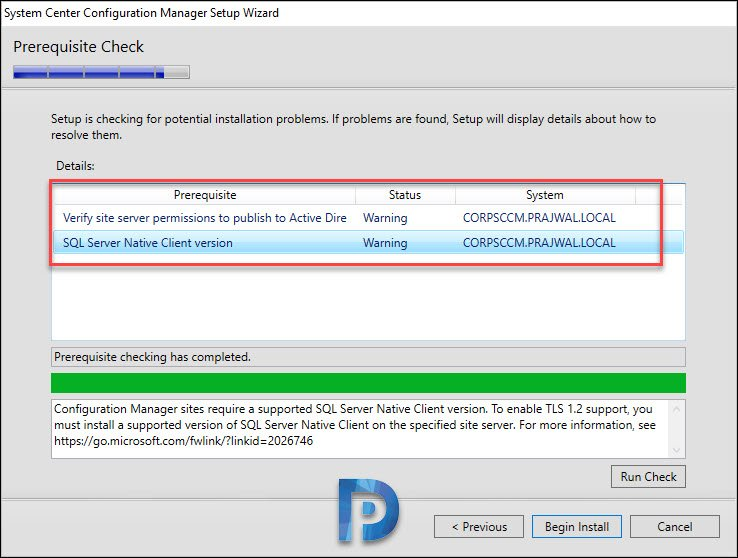 sccm 1902 prerequisite check