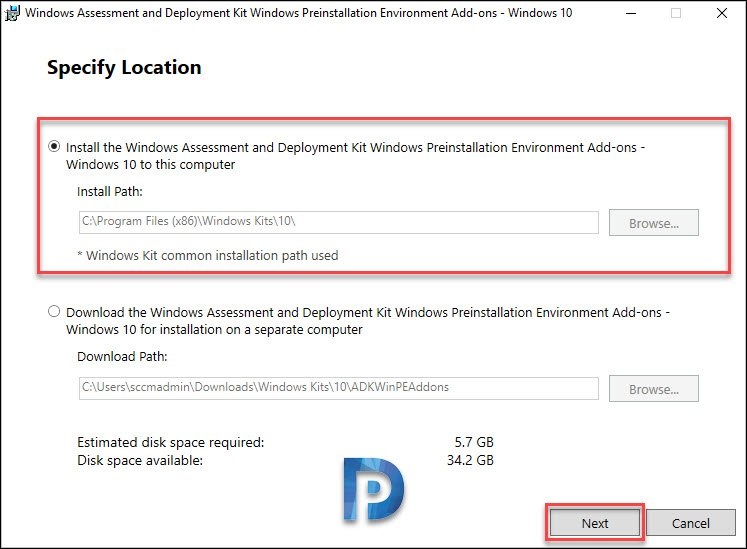 Install Windows PE add-on on SCCM server