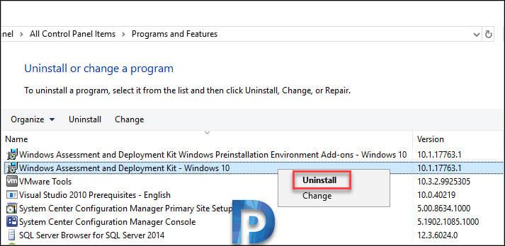 uninstall windows adk