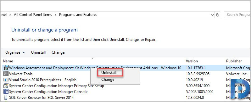 Uninstall WinPE addon