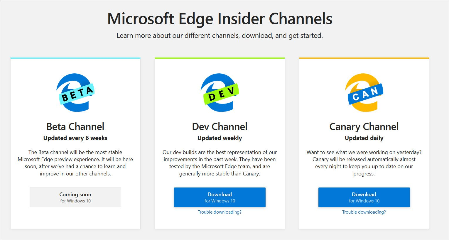 Microsoft Chromium Edge Insider Channels