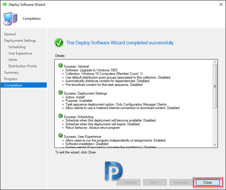 Deploy Windows 10 1903 Upgrade Task Sequence