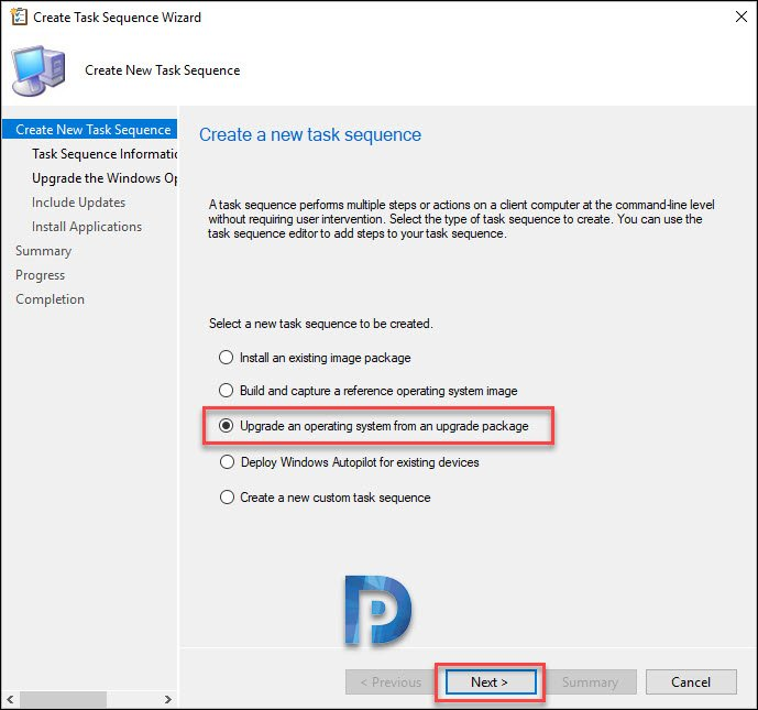 Create SCCM Upgrade Task Sequence