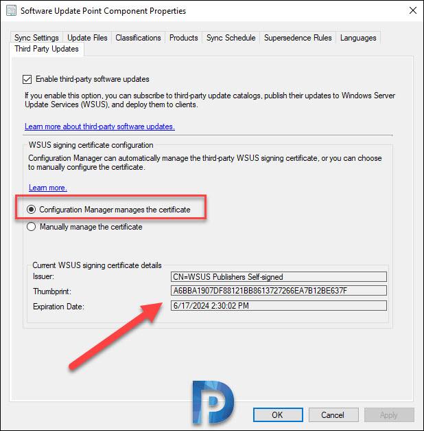 configure WSUS signing certificate