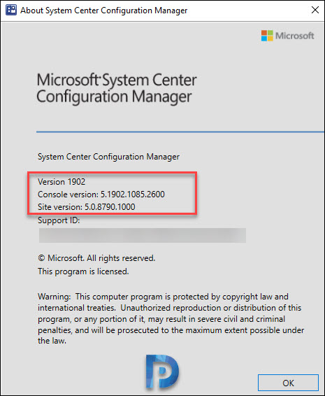 SCCM 1902 console version
