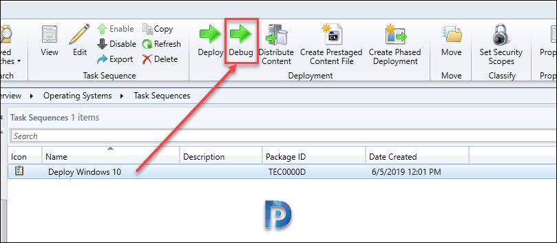 SCCM Task sequence debugger