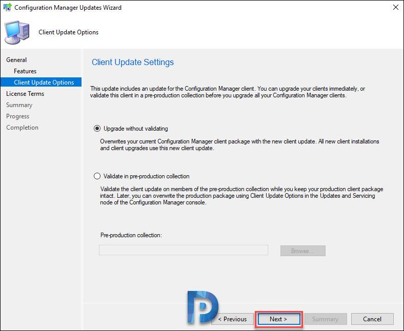 SCCM client update settings