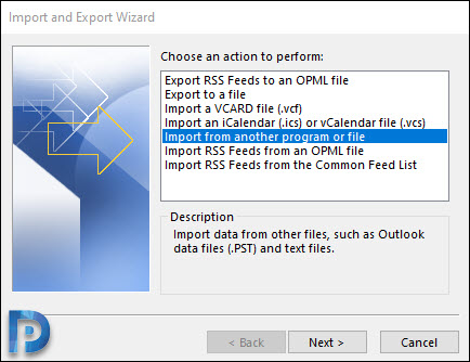 Import PST file in MS Outlook