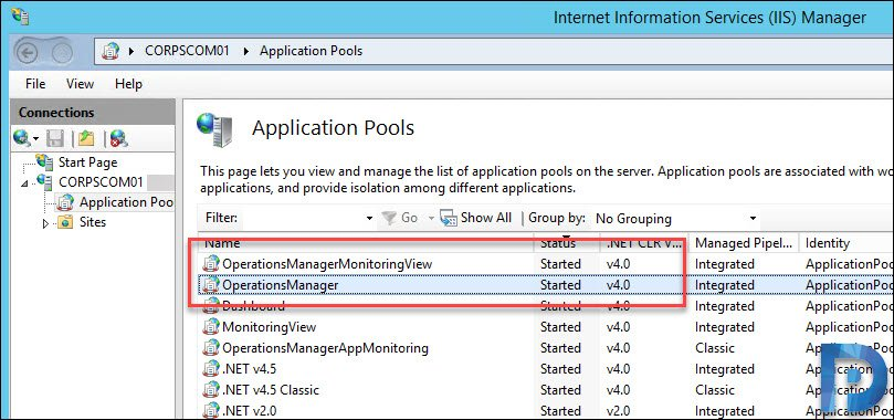 Start the application pool of Operations Manager and MonitoringViews in IIS server