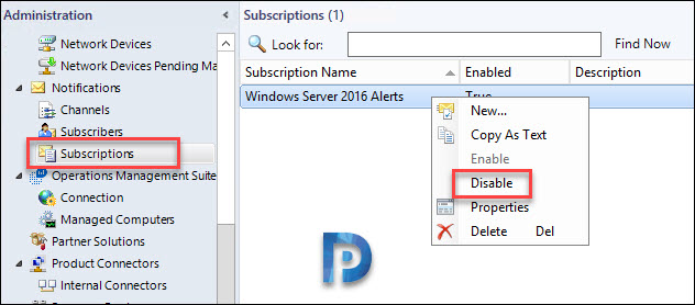 Disable notification subscriptions
