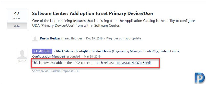 Allow Users to Set Primary Device in Software Center