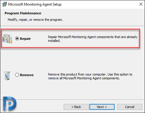 Repair SCOM agents using MOMAgent.msi setup wizard