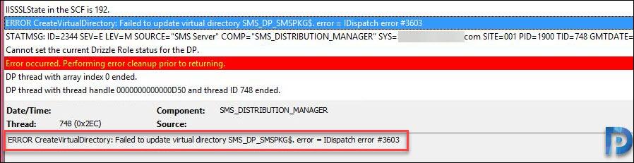 IDispatch error 3603 during SCCM Content Distribution