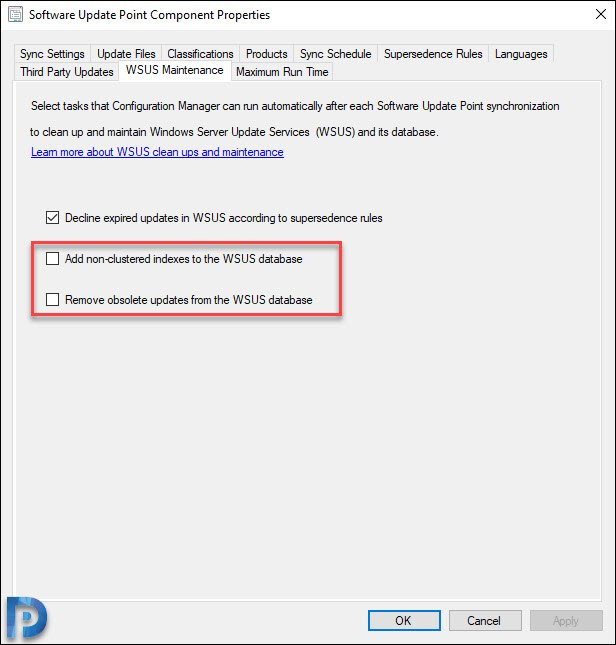 SCCM 1906 WSUS maintenance Options
