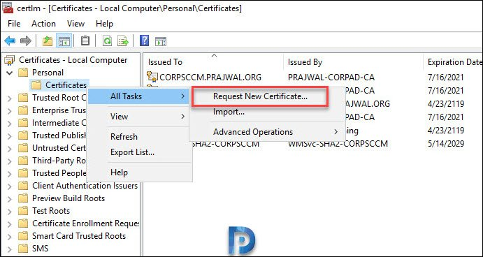 Import Web server CMG certificate on the Primary Site Server