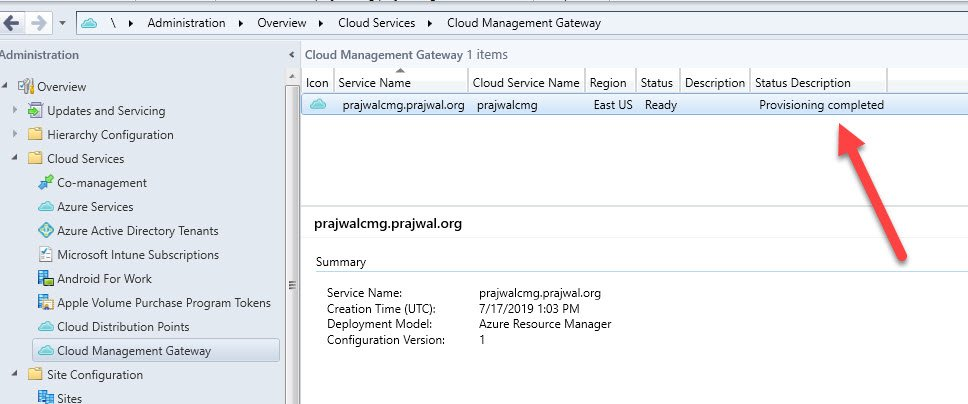Setup ConfigMgr Cloud Management Gateway