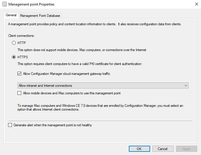 Allow SCCM Cloud Management Gateway traffic