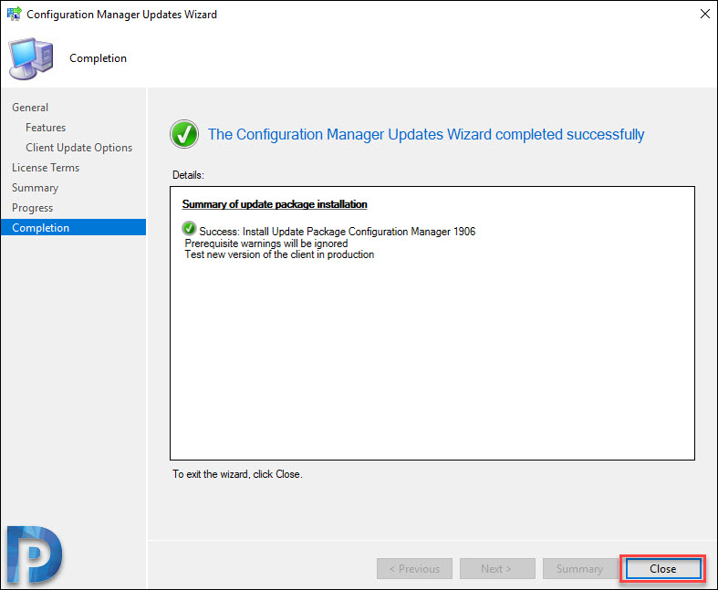 Configuration Manager Update Wizard