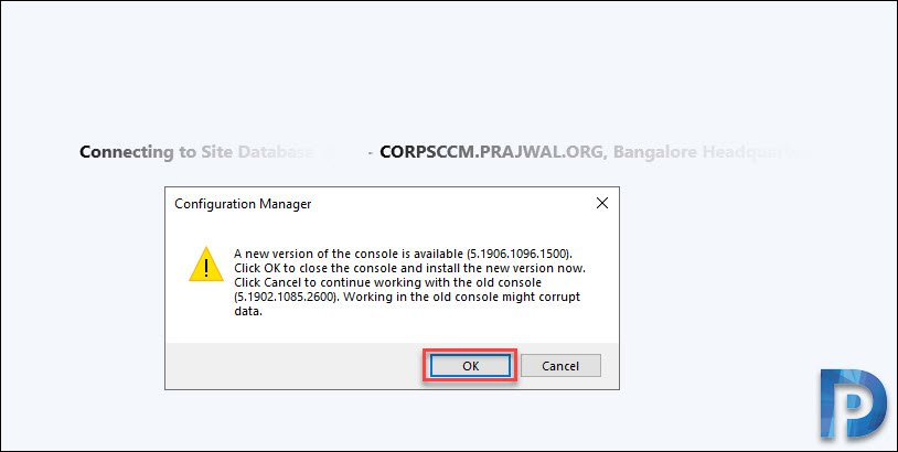 Configuration Manager 1906 Console Upgrade