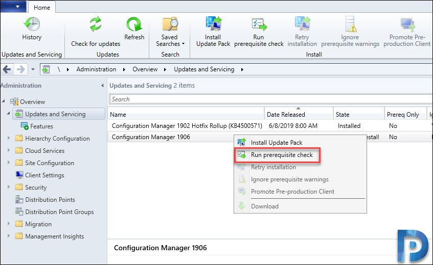 SCCM 1906 Prerequisite Check