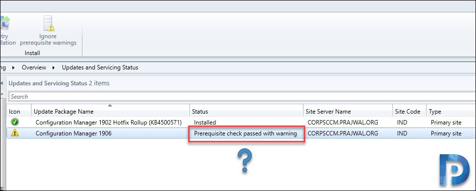 SCCM 1906 Prerequisite Check Warning