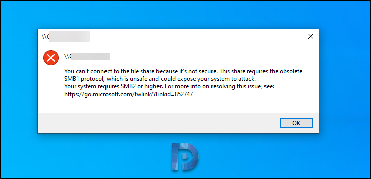You can't connect to the file share because it's not secure. This share requires the obsolete SMB1 protocol